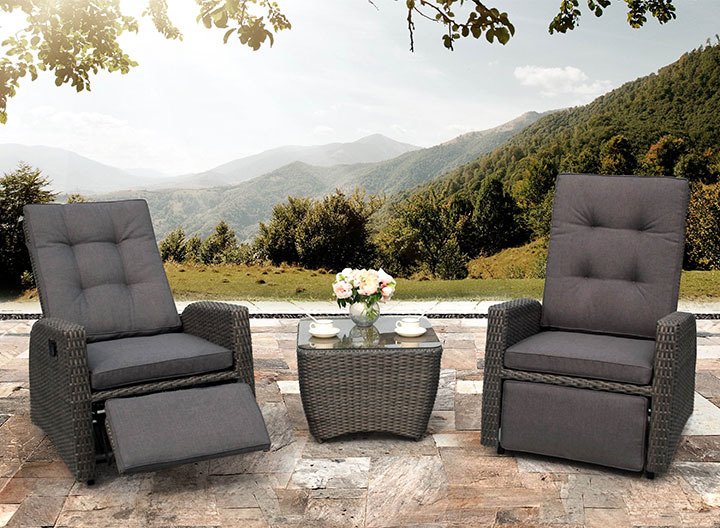 Rocking Reclining Rattan Chairs