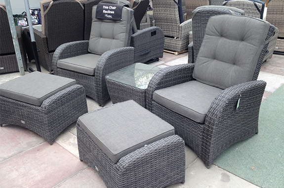 These chairs are static but come with footstools